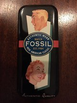 "1994 fossil watch tin - 5.5"" x 2.5"" - fossil ad on cover in Quantico, Virginia"