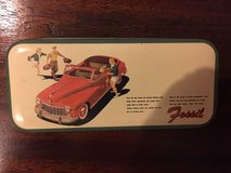 "1992 fossil watch tin - 5.5"" x 2.5"" - 1950's pontiac on cover in Quantico, Virginia"