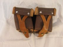 vintage camera pouches brown tan leather strap closed belt mount 31591 in Fort Carson, Colorado