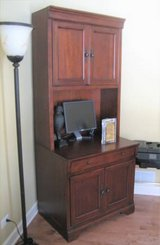 WOOD COMPUTER DESK / HUTCH - HIGH QUALITY - WALTER E. SMITHE in Aurora, Illinois