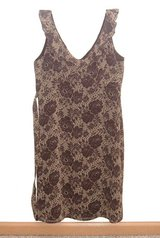 Old Navy Ruffle Neck Brown Beige Floral Tie Back Lined Midi Dress Womens 6 in Morris, Illinois