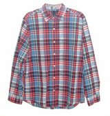 Gap L/S Classic Fit Plaid Button Down Shirt w Pocket Mens Large Blue Red White in Morris, Illinois