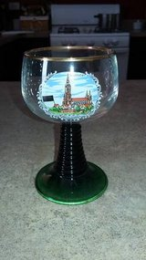 Vintage German Roemer Wine Glass with gold rim and green stem in Morris, Illinois