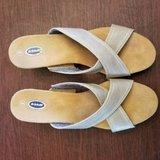 very good condition. with box. dr. scholls women's gold cork wedge sandals sz 9 in Glendale Heights, Illinois