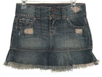 Hippie Distressed Pleated Fringed Denim Jean Skirt Womens 6 in Joliet, Illinois