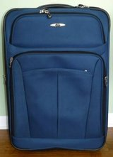 Like New! Skyway Rolling Suitcase - Navy Canvas Luggage in Naperville, Illinois