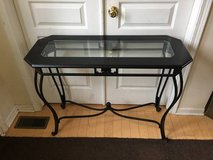 Black Wooden/Wrought Iron Glass Inset Sofa Table/Console in Naperville, Illinois