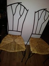 2 Straw Seat with Branch Twig Style Wrought Iron Back Cafe Chair in Fairfield, California