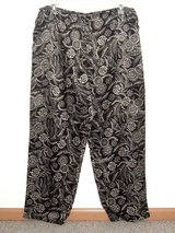 Croft & Barrow Black Tan Floral Silky Satiny Pajama Bottoms Lounge Pants Large in Yorkville, Illinois