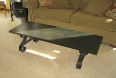 Black Wood Coffee Table with Wrought Iron Legs - LANE in Chicago, Illinois