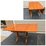 Solidwood Drop Leaf Rectangular Table with Two leaves and Two Pedestal in Naperville, Illinois