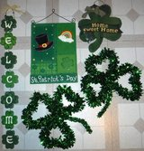 St. Patrick's Day Decor - 3 Wood Hanging signs & 2 Irish Shamrock's in Orland Park, Illinois