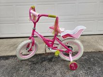 Girls 14 inch Lalaloopsy Pink Bike with doll seat and training wheels in Elgin, Illinois