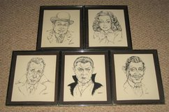 ART - 5 Framed Movie Actor Caricatures - Robinson Gable Legosi Bogart in Chicago, Illinois