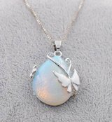 Genuine Waterdrop White Opal With Butterfly Necklace White Gold Filled in Fort Drum, New York