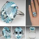 New 14 cts Mascot Crystal Sea Blue Natural Elegant Jewelry  Ring in Fort Drum, New York
