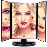 NEW vanity mirror 21 led lighted makeup with magnification trifold touch screen usb in Kingwood, Texas