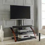 Z-Line TV Stand with Mount (Glass/Cherry Wood) - NEW! in Joliet, Illinois