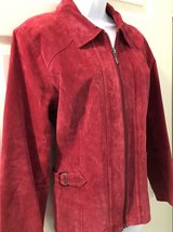 Christopher & Banks Red Pig Suede Leather Jacket Womens Small 4 6 Machine Washable Coat in Morris, Illinois
