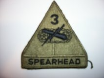 Two US Army 3rd Armored Division (Spearhead) subdued patches in Fairfax, Virginia