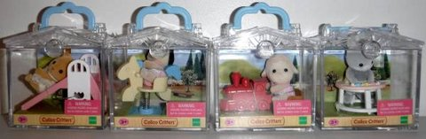 New! 4 Calico Critters Friends w/ Mini Carry Case ~Deer Dog Lamb Bunny in Orland Park, Illinois