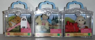New! 3 Calico Critters Friends Mini Carry Case Deer, Puppy Dog & Lamb in Orland Park, Illinois