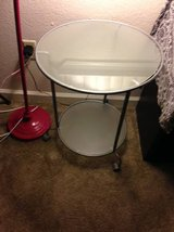 rolling 2 tier smoked glass side table in Fairfield, California