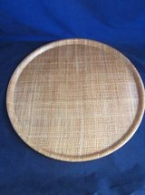 "Raffia Ware Burlap 17"" Round Serving Tray MCM VINTAGE RETRO in Naperville, Illinois"
