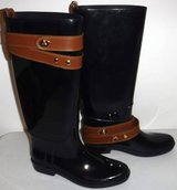 Like New! Sz 9M Coach Tara Tall Black Rain / Riding Boots in Joliet, Illinois