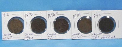 lot of 5 canadian coins all one cent in Camp Lejeune, North Carolina