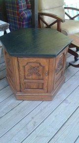 Solid Wood End Table with Slate Top in The Woodlands, Texas