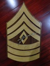 WOOD ARMY MARINE SERGEANT WALL CLOCK QUARTZ MADE in JAPAN in Travis AFB, California