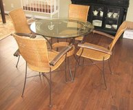 "RATTAN and WROUGHT IRON TABLE and 4 CHAIRS - 36"" GLASS TOP in Oswego, Illinois"