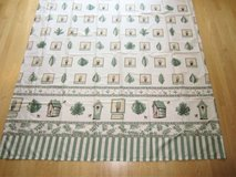 Ivory & Sage Green Print Fabric Shower Curtain: Birdhouses Herbs Bees+ in Chicago, Illinois