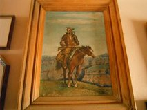 """Oil on board """"Cowboy on a Horse"""" by listed artist Harriet BELL, 1962 in Yucca Valley, California"""