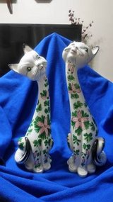 Pair of Mid-Century Porcelain Cats in Cleveland, Texas
