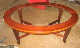 Wood and Glass Oval Coffee Table in Oswego, Illinois