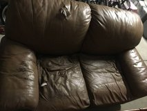 Brown Leather Loveseat/sofa/couch in Camp Pendleton, California