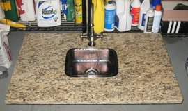 Thick Granite Counter Top with Wet Bar Sink in Oswego, Illinois