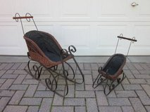"""Wicker & Iron Sleigh Set of 2 for Dolls or Bears 30.5"""" & 21.5"""" tall in Glendale Heights, Illinois"""