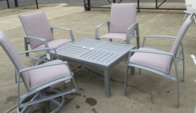 Memorial Day Sale - Pinstriped Chairs, 2 swivel, 2 standard & Table in Elgin, Illinois