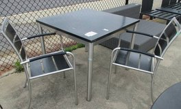 Memorial Day Sale - Outdoor Black Patterned Metal Table with 2 Chairs in Elgin, Illinois