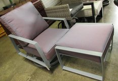 Memorial Day Sale - Mauve Outdoor Swivel Chair with Ottoman in Elgin, Illinois