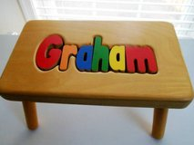 For Sale Step Stool with the name Graham carved into it in Quantico, Virginia