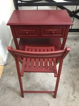 Red Two Drawer Desk + Foldable Chair-World Market in Chicago, Illinois