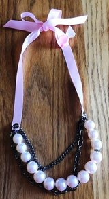 Chico's Women's Pink Ribbon, Pearl, and Chain Necklace NWOT in Chicago, Illinois