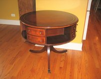 1940's Vintage Antique Leather Top with Gold Leaf Embossed Rotating Drum Table in Oswego, Illinois