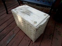 antique wood and wicker hamper rose decals white chippy paint chic and shabby in Brookfield, Wisconsin