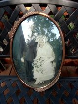 antique convex bubble glass wedding picture copper framed frame in Brookfield, Wisconsin