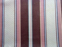 "19th c antique cotton fabric piece stripes 52"" x 100"" chocolate pink blue cream in Brookfield, Wisconsin"